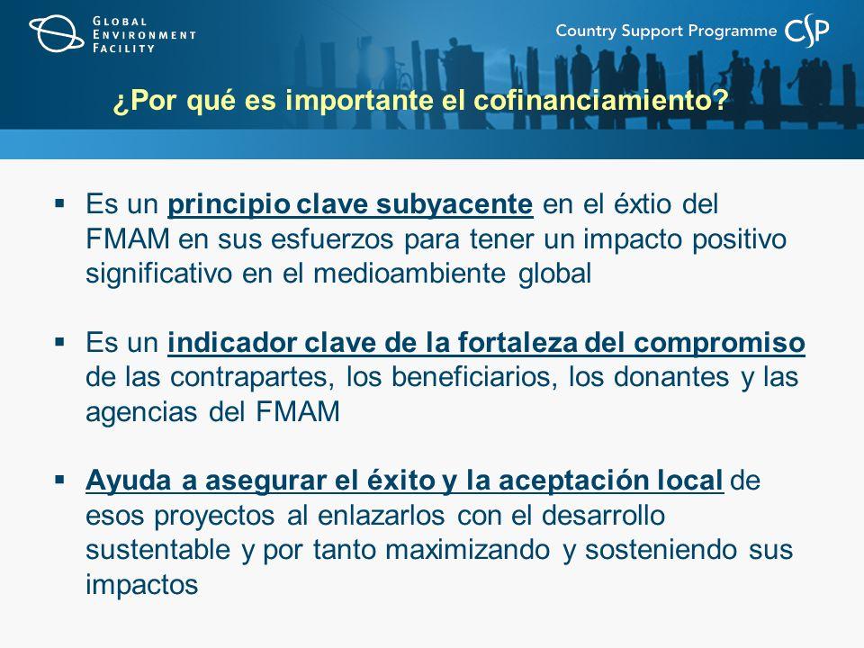 ¿Por qué es importante el cofinanciamiento? Es un principio clave subyacente en el éxtio del FMAM en sus esfuerzos para tener un impacto positivo sign