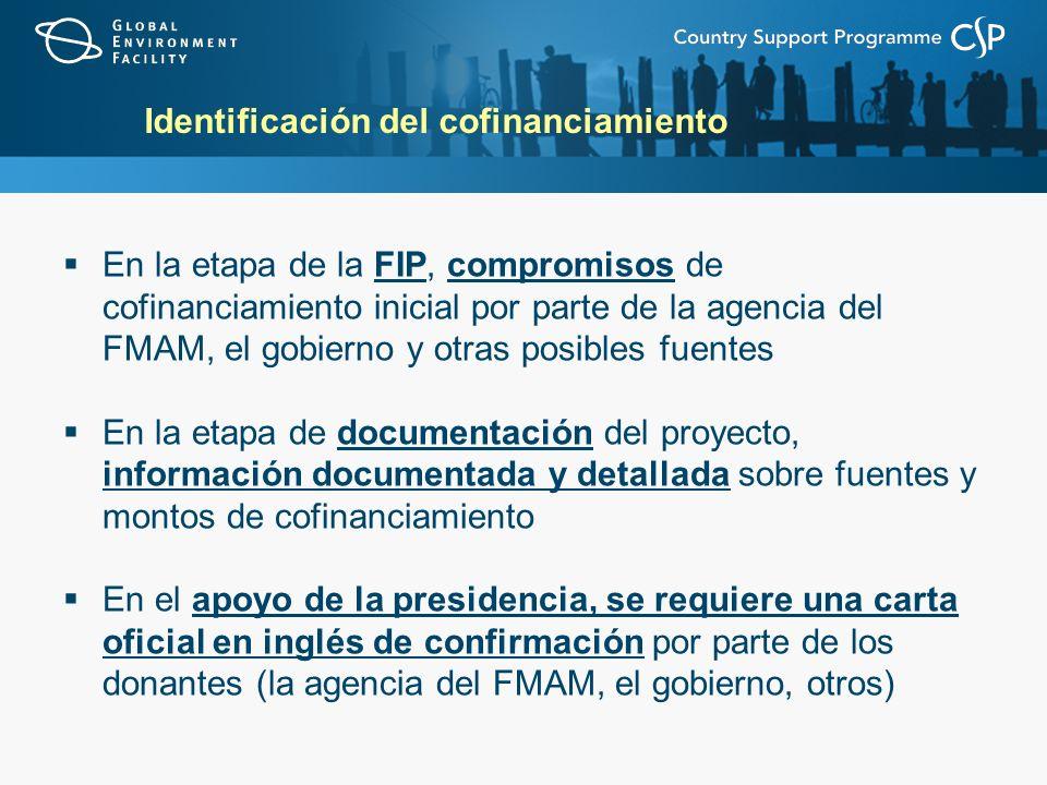 Identificación del cofinanciamiento En la etapa de la FIP, compromisos de cofinanciamiento inicial por parte de la agencia del FMAM, el gobierno y otras posibles fuentes En la etapa de documentación del proyecto, información documentada y detallada sobre fuentes y montos de cofinanciamiento En el apoyo de la presidencia, se requiere una carta oficial en inglés de confirmación por parte de los donantes (la agencia del FMAM, el gobierno, otros)