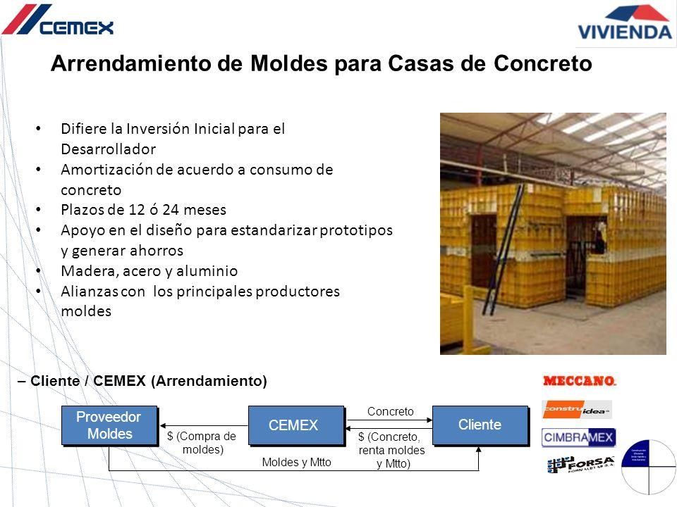 Arrendamiento de Moldes para Casas de Concreto Difiere la Inversión Inicial para el Desarrollador Amortización de acuerdo a consumo de concreto Plazos