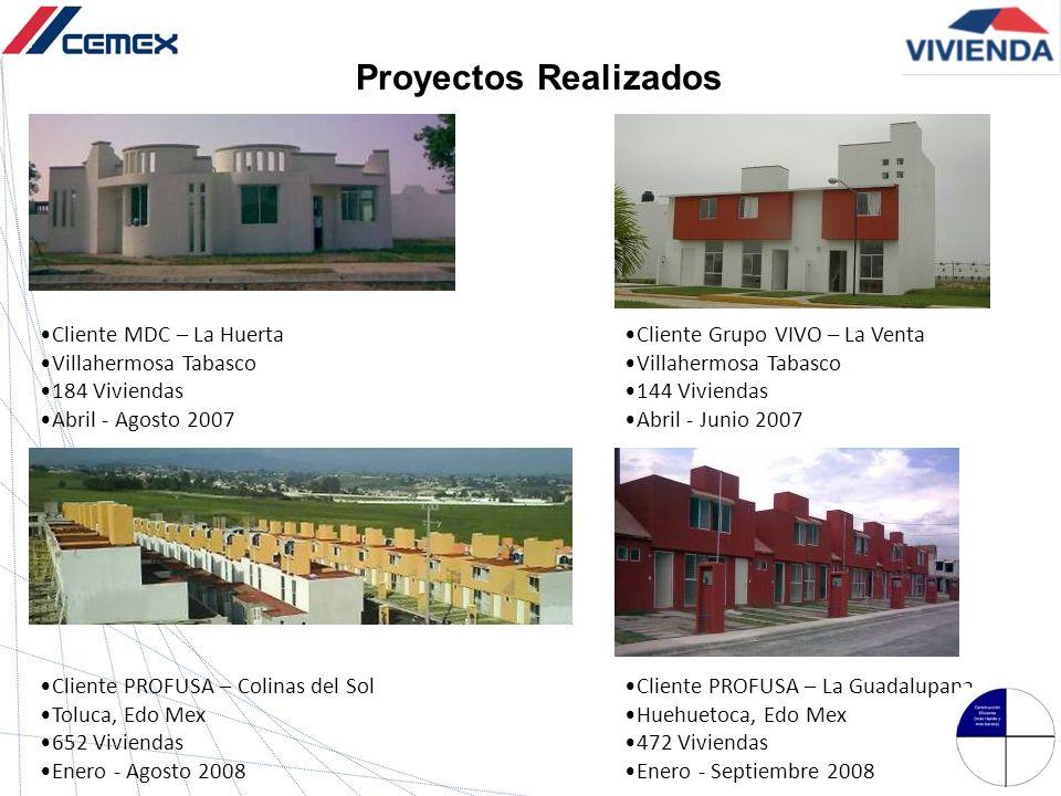 Cliente MDC – La Huerta Villahermosa Tabasco 184 Viviendas Abril - Agosto 2007 Cliente Grupo VIVO – La Venta Villahermosa Tabasco 144 Viviendas Abril