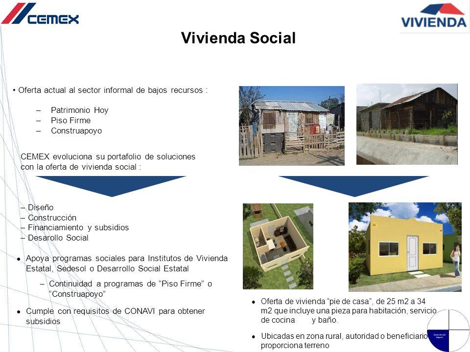 Vivienda Social Apoya programas sociales para Institutos de Vivienda Estatal, Sedesol o Desarrollo Social Estatal – Continuidad a programas de Piso Fi