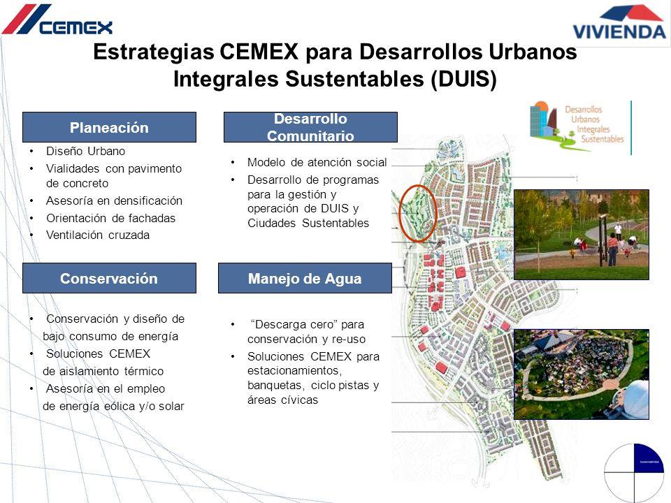 Estrategias CEMEX para Desarrollos Urbanos Integrales Sustentables (DUIS) Planeación Diseño Urbano Vialidades con pavimento de concreto Asesoría en de