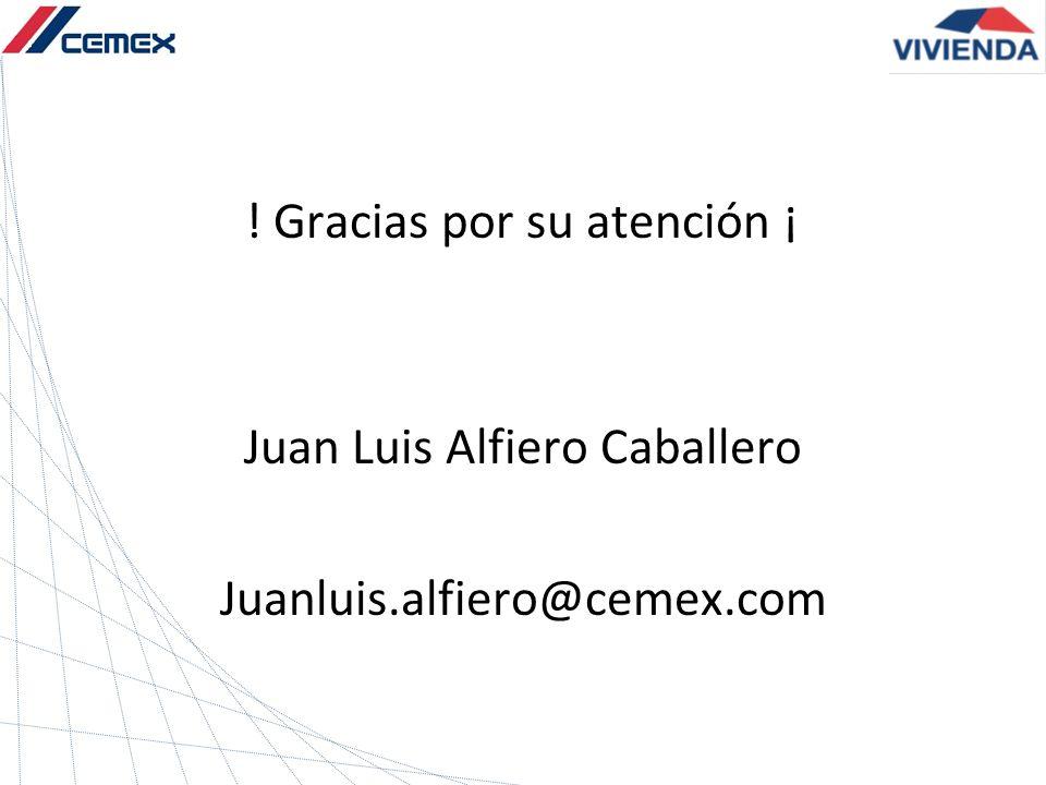 ! Gracias por su atención ¡ Juan Luis Alfiero Caballero Juanluis.alfiero@cemex.com
