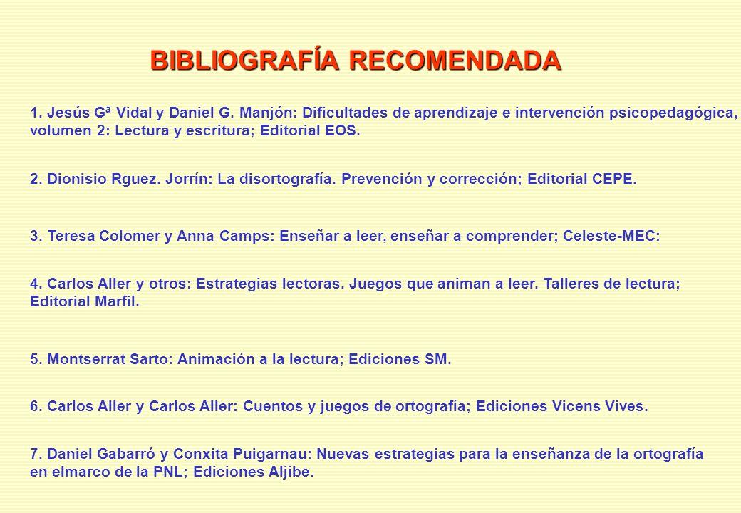 BIBLIOGRAFÍA RECOMENDADA 1. Jesús Gª Vidal y Daniel G. Manjón: Dificultades de aprendizaje e intervención psicopedagógica, volumen 2: Lectura y escrit