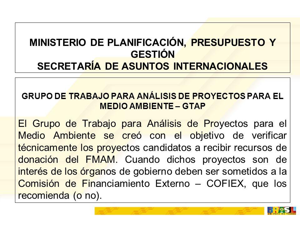 MINISTERIO DE PLANIFICACIÓN, PRESUPUESTO Y GESTIÓN SECRETARÍA DE ASUNTOS INTERNACIONALES GRUPO DE TRABAJO PARA ANÁLISIS DE PROYECTOS PARA EL MEDIO AMB