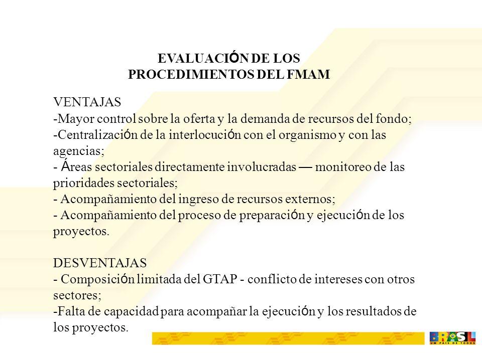 EVALUACI Ó N DE LOS PROCEDIMIENTOS DEL FMAM VENTAJAS -Mayor control sobre la oferta y la demanda de recursos del fondo; -Centralizaci ó n de la interl