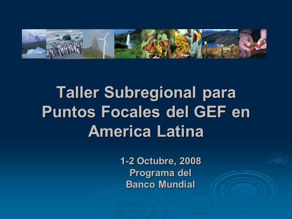 Taller Subregional para Puntos Focales del GEF en America Latina 1-2 Octubre, 2008 Programa del Banco Mundial