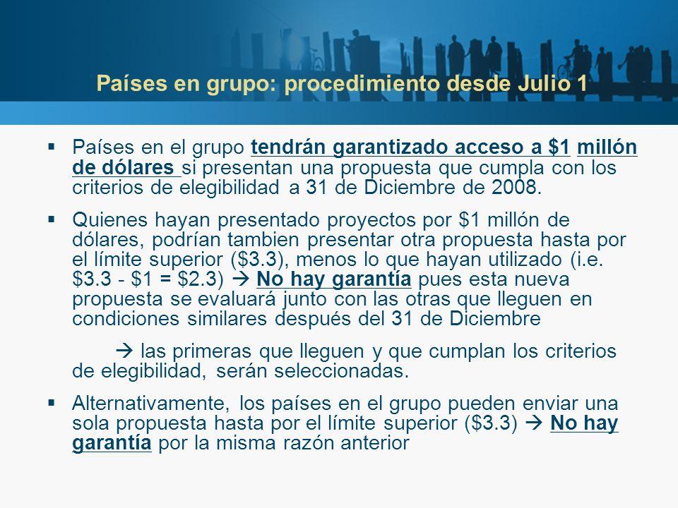 Países en grupo: procedimiento desde Julio 1 Países en el grupo tendrán garantizado acceso a $1 millón de dólares si presentan una propuesta que cumpl
