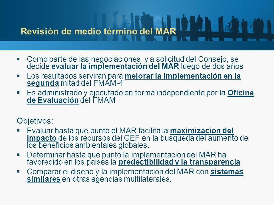 Revisión de medio término del MAR Como parte de las negociaciones y a solicitud del Consejo, se decide evaluar la implementación del MAR luego de dos