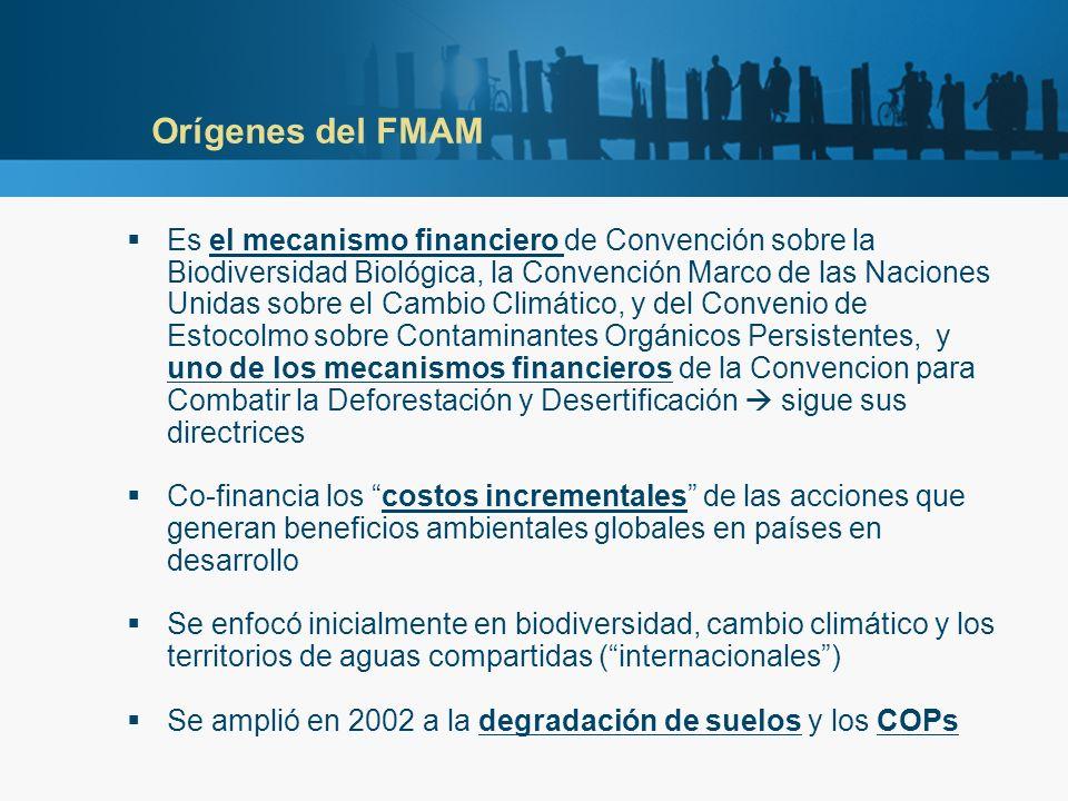 Orígenes del FMAM Es el mecanismo financiero de Convención sobre la Biodiversidad Biológica, la Convención Marco de las Naciones Unidas sobre el Cambi