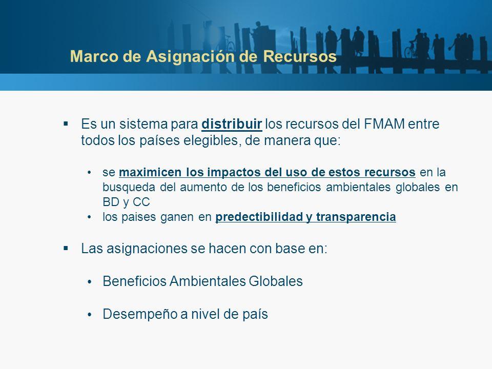 Marco de Asignación de Recursos Es un sistema para distribuir los recursos del FMAM entre todos los países elegibles, de manera que: se maximicen los