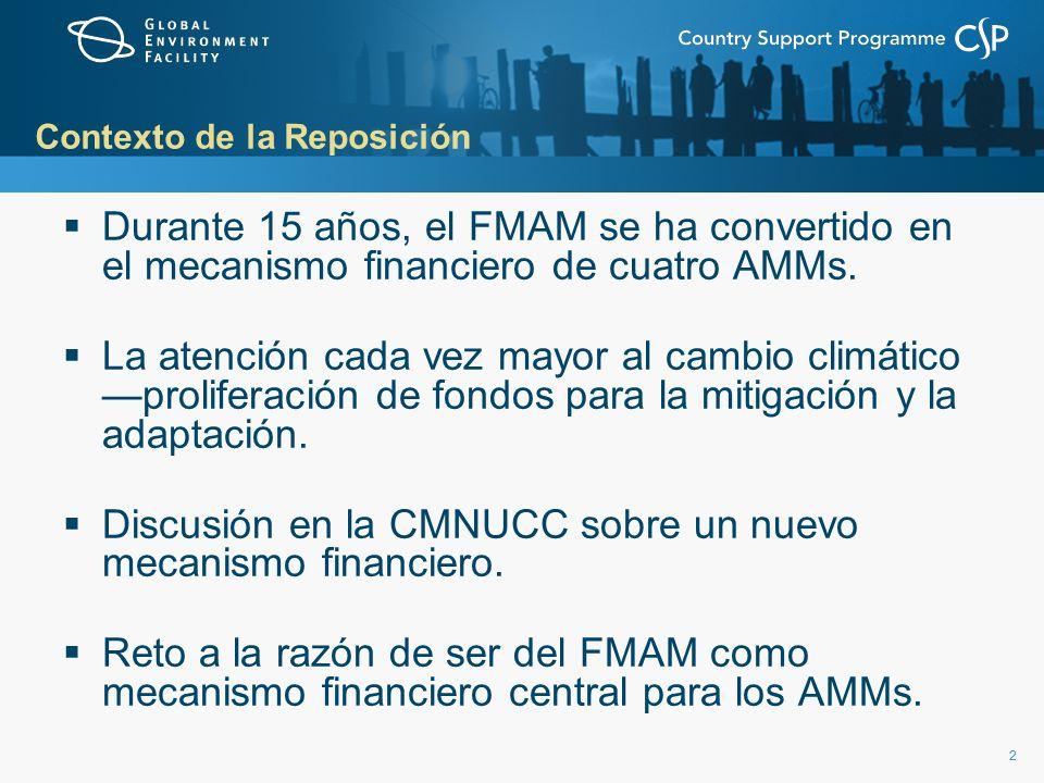 22 Contexto de la Reposición Durante 15 años, el FMAM se ha convertido en el mecanismo financiero de cuatro AMMs.