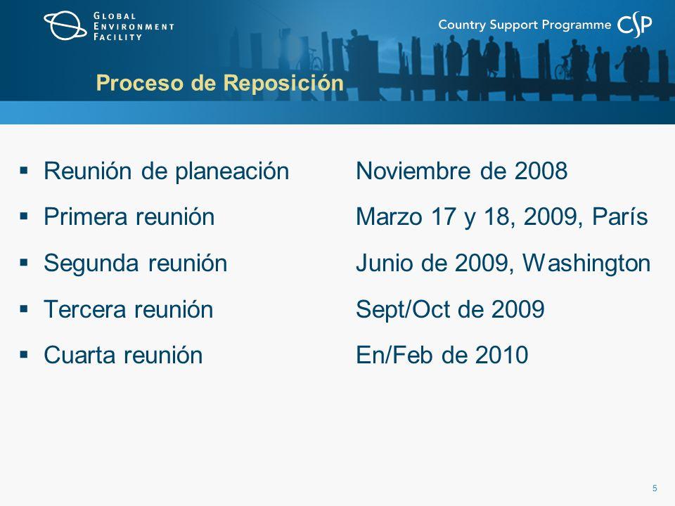 55 Proceso de Reposición Reunión de planeaciónNoviembre de 2008 Primera reunión Marzo 17 y 18, 2009, París Segunda reunión Junio de 2009, Washington Tercera reunión Sept/Oct de 2009 Cuarta reunión En/Feb de 2010