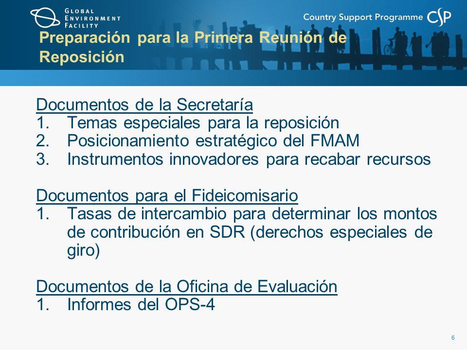 66 Preparación para la Primera Reunión de Reposición Documentos de la Secretaría 1.Temas especiales para la reposición 2.Posicionamiento estratégico del FMAM 3.Instrumentos innovadores para recabar recursos Documentos para el Fideicomisario 1.Tasas de intercambio para determinar los montos de contribución en SDR (derechos especiales de giro) Documentos de la Oficina de Evaluación 1.Informes del OPS-4