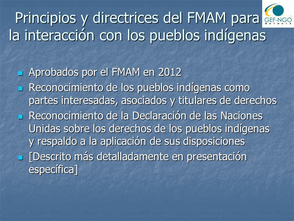Principios y directrices del FMAM para la interacción con los pueblos indígenas Aprobados por el FMAM en 2012 Aprobados por el FMAM en 2012 Reconocimi