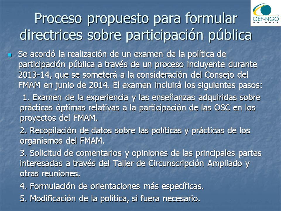 Proceso propuesto para formular directrices sobre participación pública Se acordó la realización de un examen de la política de participación pública a través de un proceso incluyente durante 2013-14, que se someterá a la consideración del Consejo del FMAM en junio de 2014.