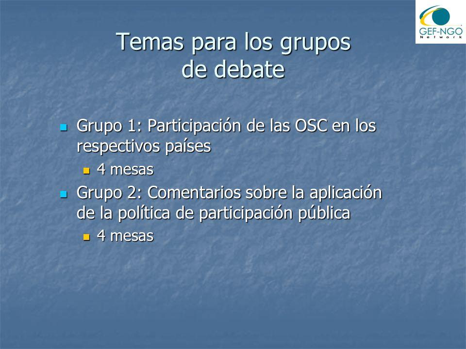 Temas para los grupos de debate Grupo 1: Participación de las OSC en los respectivos países Grupo 1: Participación de las OSC en los respectivos países 4 mesas 4 mesas Grupo 2: Comentarios sobre la aplicación de la política de participación pública Grupo 2: Comentarios sobre la aplicación de la política de participación pública 4 mesas 4 mesas