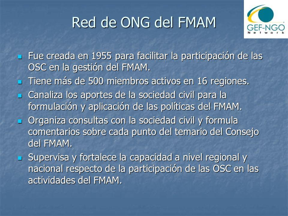 Red de ONG del FMAM Fue creada en 1955 para facilitar la participación de las OSC en la gestión del FMAM. Fue creada en 1955 para facilitar la partici