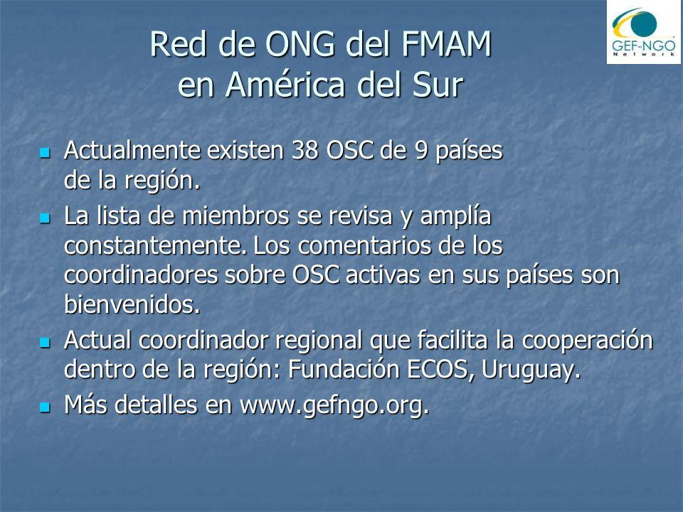 Red de ONG del FMAM en América del Sur Actualmente existen 38 OSC de 9 países de la región.