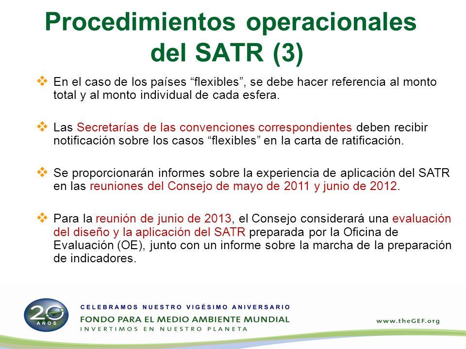 Procedimientos operacionales del SATR (3) En el caso de los países flexibles, se debe hacer referencia al monto total y al monto individual de cada esfera.