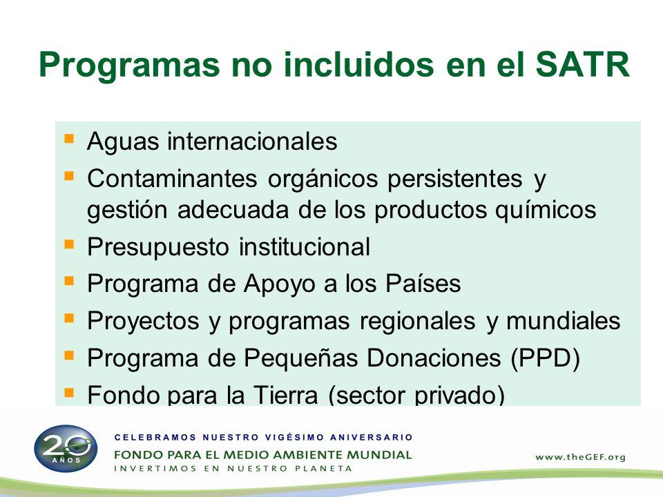 Programas no incluidos en el SATR Aguas internacionales Contaminantes orgánicos persistentes y gestión adecuada de los productos químicos Presupuesto institucional Programa de Apoyo a los Países Proyectos y programas regionales y mundiales Programa de Pequeñas Donaciones (PPD) Fondo para la Tierra (sector privado)