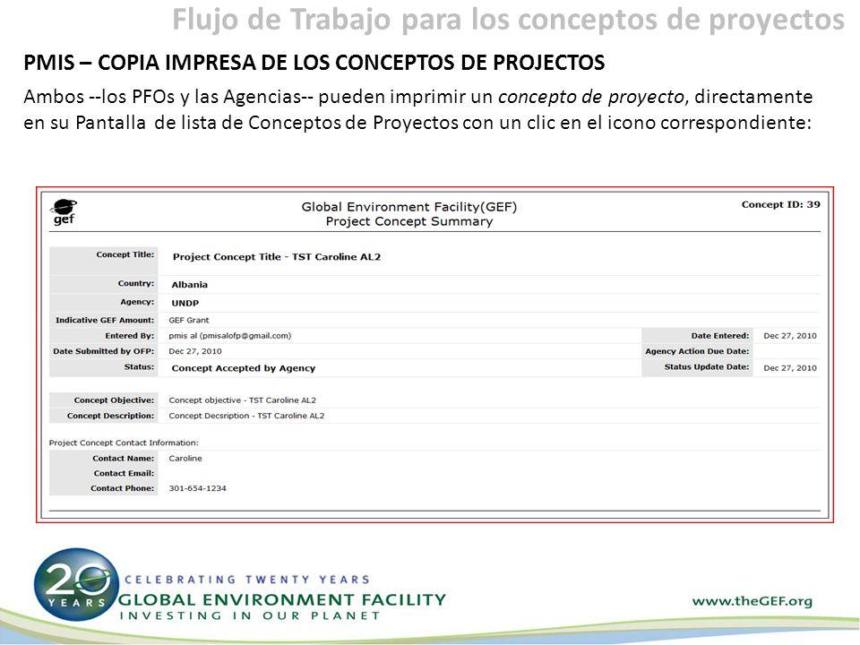 PMIS – COPIA IMPRESA DE LOS CONCEPTOS DE PROJECTOS Ambos --los PFOs y las Agencias-- pueden imprimir un concepto de proyecto, directamente en su Pantalla de lista de Conceptos de Proyectos con un clic en el icono correspondiente: Flujo de Trabajo para los conceptos de proyectos