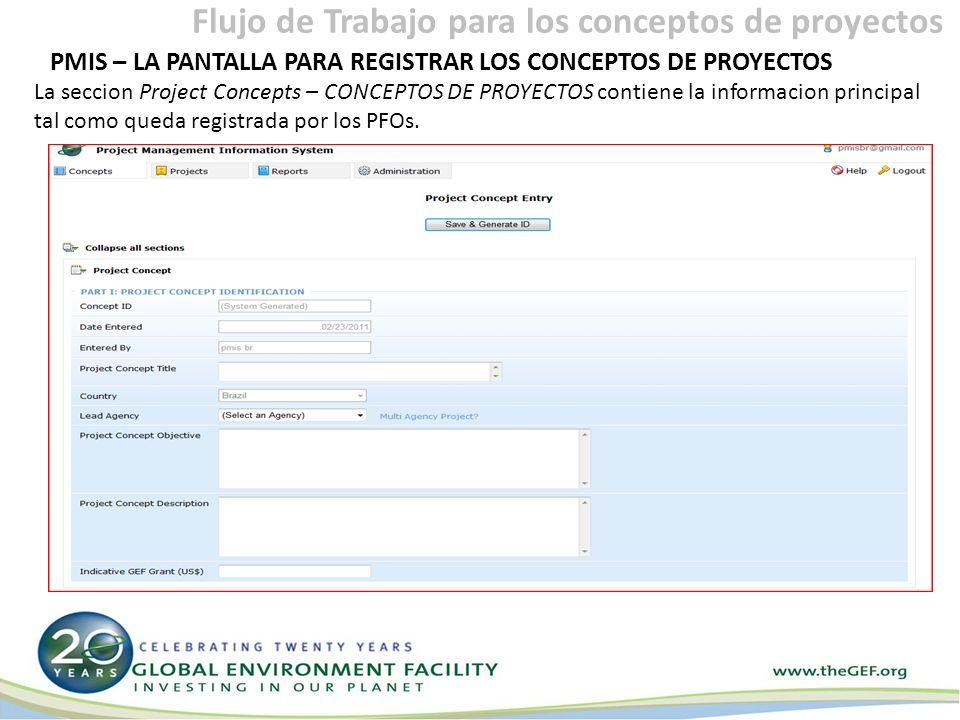 PMIS – LA PANTALLA PARA REGISTRAR LOS CONCEPTOS DE PROYECTOS La seccion Project Concepts – CONCEPTOS DE PROYECTOS contiene la informacion principal tal como queda registrada por los PFOs.