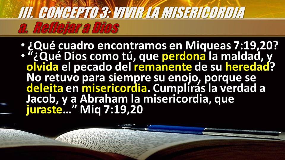 ¿Qué cuadro encontramos en Miqueas 7:19,20? ¿Qué Dios como tú, que perdona la maldad, y olvida el pecado del remanente de su heredad? No retuvo para s