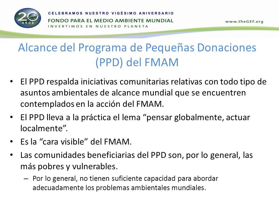 Alcance del Programa de Pequeñas Donaciones (PPD) del FMAM El PPD respalda iniciativas comunitarias relativas con todo tipo de asuntos ambientales de alcance mundial que se encuentren contemplados en la acción del FMAM.