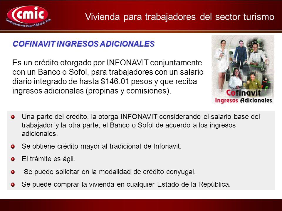 COFINAVIT INGRESOS ADICIONALES Es un crédito otorgado por INFONAVIT conjuntamente con un Banco o Sofol, para trabajadores con un salario diario integrado de hasta $146.01 pesos y que reciba ingresos adicionales (propinas y comisiones).