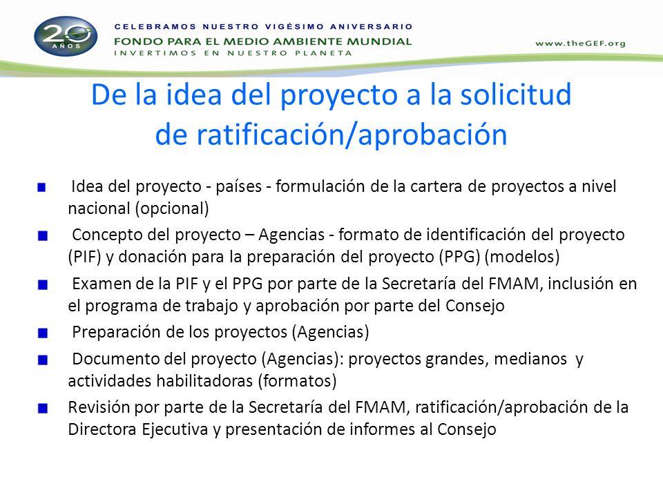 De la idea del proyecto a la solicitud de ratificación/aprobación Idea del proyecto - países - formulación de la cartera de proyectos a nivel nacional (opcional) Concepto del proyecto – Agencias - formato de identificación del proyecto (PIF) y donación para la preparación del proyecto (PPG) (modelos) Examen de la PIF y el PPG por parte de la Secretaría del FMAM, inclusión en el programa de trabajo y aprobación por parte del Consejo Preparación de los proyectos (Agencias) Documento del proyecto (Agencias): proyectos grandes, medianos y actividades habilitadoras (formatos) Revisión por parte de la Secretaría del FMAM, ratificación/aprobación de la Directora Ejecutiva y presentación de informes al Consejo