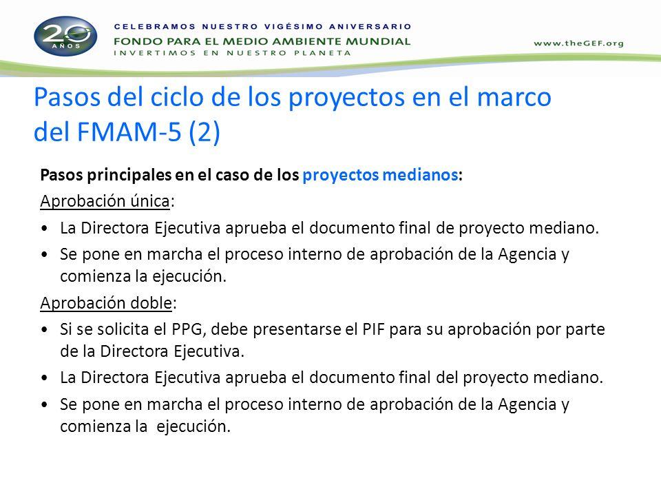 Pasos del ciclo de los proyectos en el marco del FMAM-5 (2) Pasos principales en el caso de los proyectos medianos: Aprobación única: La Directora Ejecutiva aprueba el documento final de proyecto mediano.