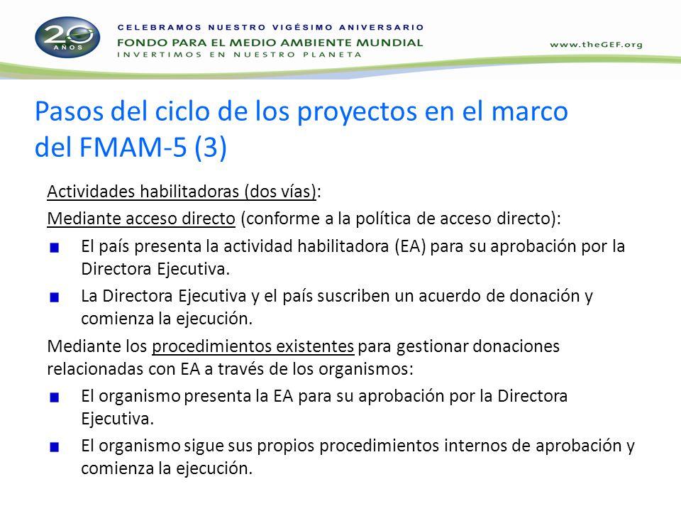 Pasos del ciclo de los proyectos en el marco del FMAM-5 (3) Actividades habilitadoras (dos vías): Mediante acceso directo (conforme a la política de acceso directo): El país presenta la actividad habilitadora (EA) para su aprobación por la Directora Ejecutiva.
