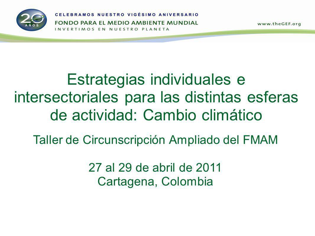 Estrategias individuales e intersectoriales para las distintas esferas de actividad: Cambio climático Taller de Circunscripción Ampliado del FMAM 27 al 29 de abril de 2011 Cartagena, Colombia