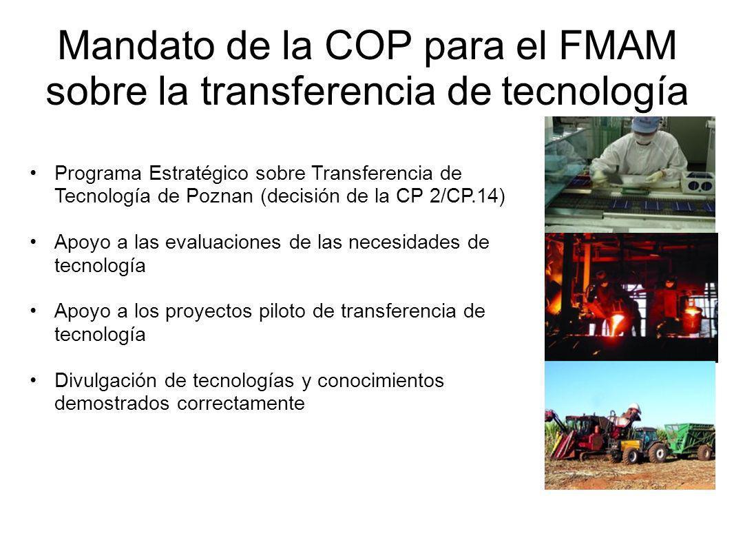 Mandato de la COP para el FMAM sobre la transferencia de tecnología Programa Estratégico sobre Transferencia de Tecnología de Poznan (decisión de la CP 2/CP.14) Apoyo a las evaluaciones de las necesidades de tecnología Apoyo a los proyectos piloto de transferencia de tecnología Divulgación de tecnologías y conocimientos demostrados correctamente