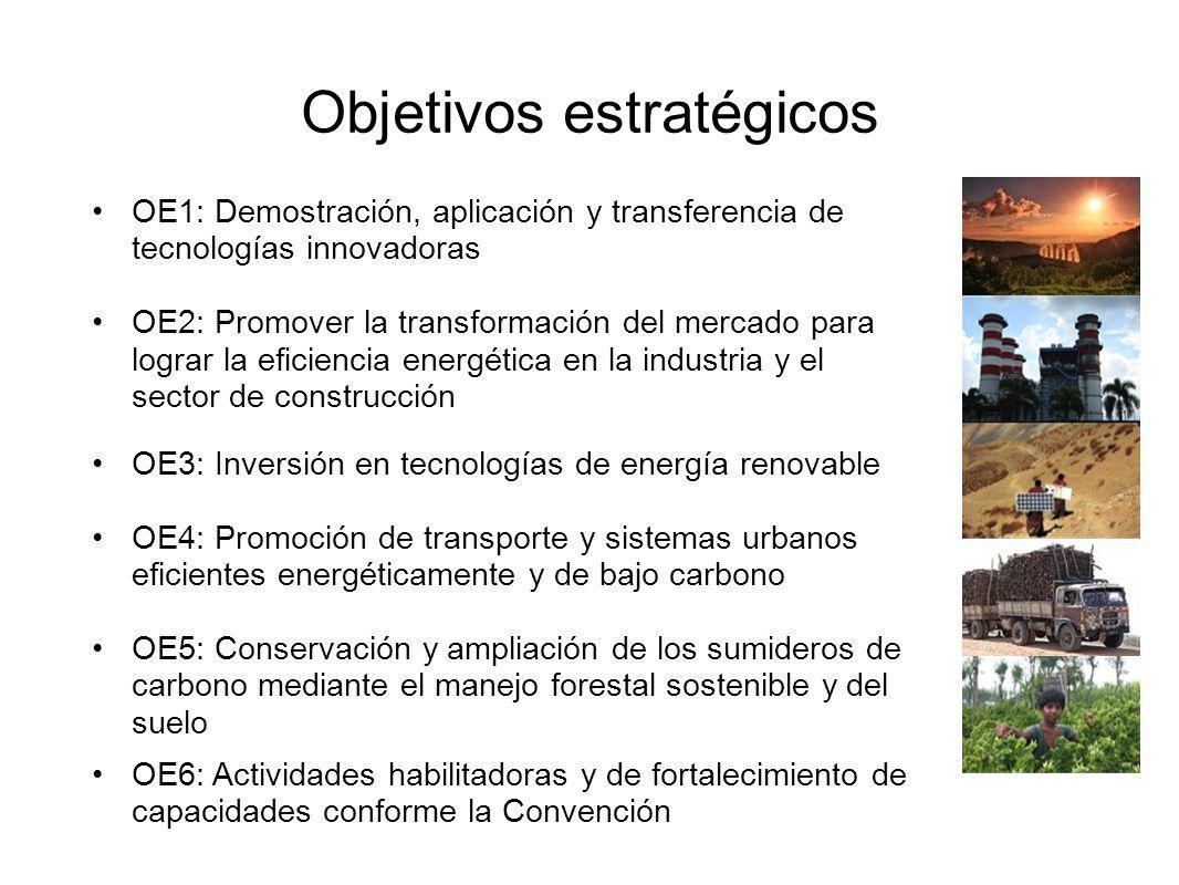 Objetivos estratégicos OE1: Demostración, aplicación y transferencia de tecnologías innovadoras OE2: Promover la transformación del mercado para lograr la eficiencia energética en la industria y el sector de construcción OE3: Inversión en tecnologías de energía renovable OE4: Promoción de transporte y sistemas urbanos eficientes energéticamente y de bajo carbono OE5: Conservación y ampliación de los sumideros de carbono mediante el manejo forestal sostenible y del suelo OE6: Actividades habilitadoras y de fortalecimiento de capacidades conforme la Convención