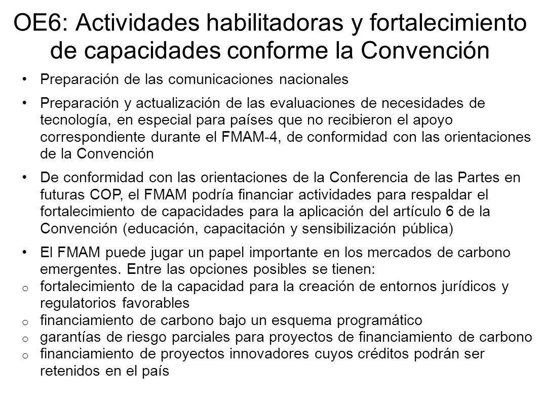 OE6: Actividades habilitadoras y fortalecimiento de capacidades conforme la Convención Preparación de las comunicaciones nacionales Preparación y actualización de las evaluaciones de necesidades de tecnología, en especial para países que no recibieron el apoyo correspondiente durante el FMAM-4, de conformidad con las orientaciones de la Convención De conformidad con las orientaciones de la Conferencia de las Partes en futuras COP, el FMAM podría financiar actividades para respaldar el fortalecimiento de capacidades para la aplicación del artículo 6 de la Convención (educación, capacitación y sensibilización pública) El FMAM puede jugar un papel importante en los mercados de carbono emergentes.