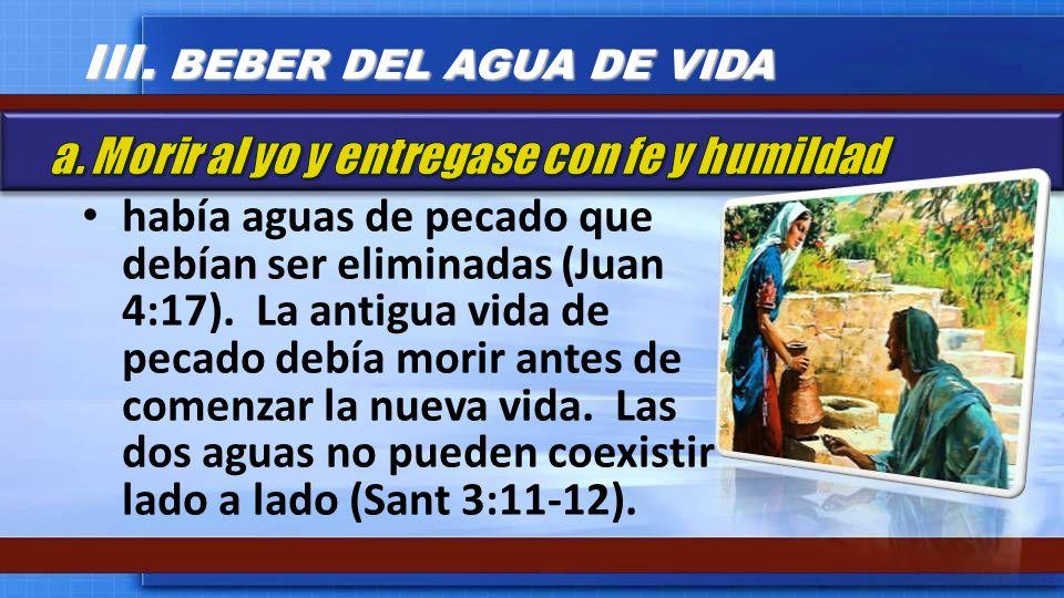 había aguas de pecado que debían ser eliminadas (Juan 4:17). La antigua vida de pecado debía morir antes de comenzar la nueva vida. Las dos aguas no p