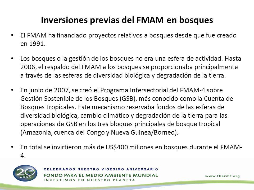 Inversiones previas del FMAM en bosques El FMAM ha financiado proyectos relativos a bosques desde que fue creado en 1991. Los bosques o la gestión de