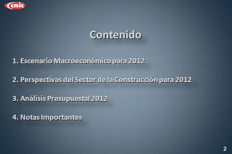 RESUMEN DEL MARCO MACROECONÓMICO PARA MÉXICO (CPE) : 2012 Crecimiento real del PIB % 3.5% PIB Nominal (miles de millones de pesos) 15,165 Inflación (dic.