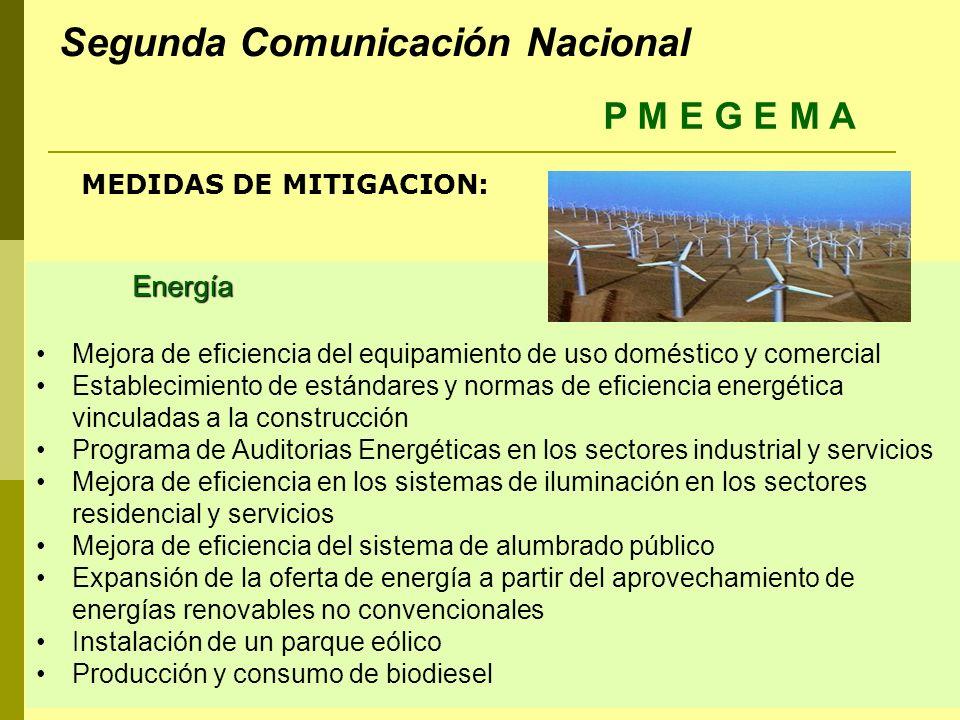 Energía Mejora de eficiencia del equipamiento de uso doméstico y comercial Establecimiento de estándares y normas de eficiencia energética vinculadas a la construcción Programa de Auditorias Energéticas en los sectores industrial y servicios Mejora de eficiencia en los sistemas de iluminación en los sectores residencial y servicios Mejora de eficiencia del sistema de alumbrado público Expansión de la oferta de energía a partir del aprovechamiento de energías renovables no convencionales Instalación de un parque eólico Producción y consumo de biodiesel MEDIDAS DE MITIGACION: P M E G E M A Segunda Comunicación Nacional
