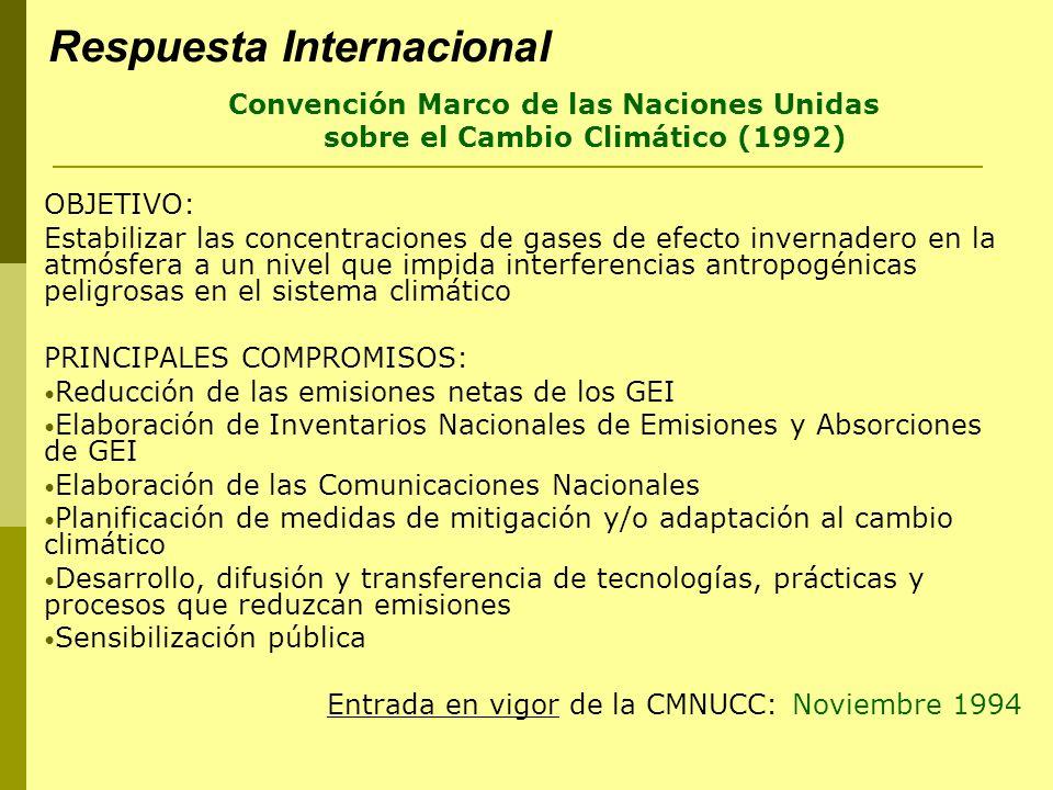 Respuesta Internacional Convención Marco de las Naciones Unidas sobre el Cambio Climático (1992) OBJETIVO: Estabilizar las concentraciones de gases de efecto invernadero en la atmósfera a un nivel que impida interferencias antropogénicas peligrosas en el sistema climático PRINCIPALES COMPROMISOS: Reducción de las emisiones netas de los GEI Elaboración de Inventarios Nacionales de Emisiones y Absorciones de GEI Elaboración de las Comunicaciones Nacionales Planificación de medidas de mitigación y/o adaptación al cambio climático Desarrollo, difusión y transferencia de tecnologías, prácticas y procesos que reduzcan emisiones Sensibilización pública Entrada en vigor de la CMNUCC: Noviembre 1994