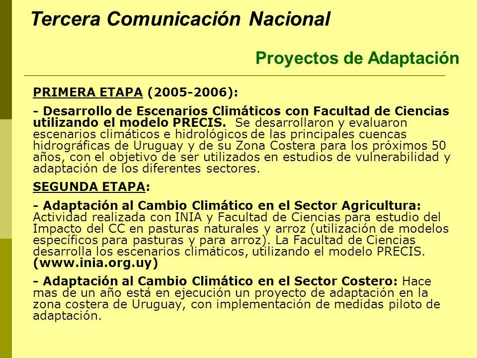 PRIMERA ETAPA (2005-2006): - Desarrollo de Escenarios Climáticos con Facultad de Ciencias utilizando el modelo PRECIS. Se desarrollaron y evaluaron es