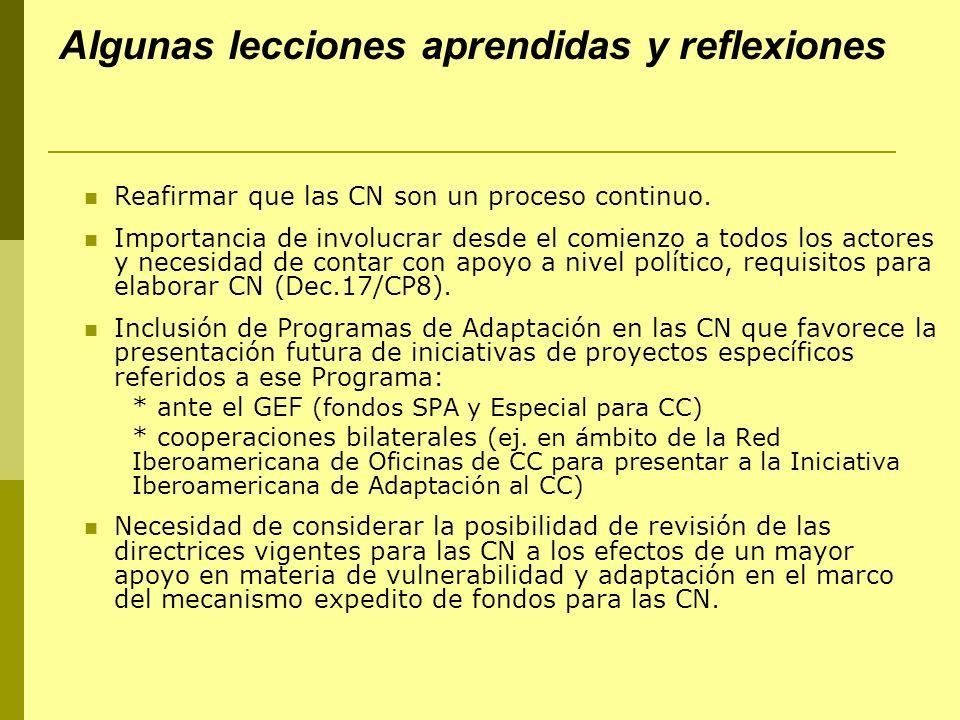 Algunas lecciones aprendidas y reflexiones Reafirmar que las CN son un proceso continuo.