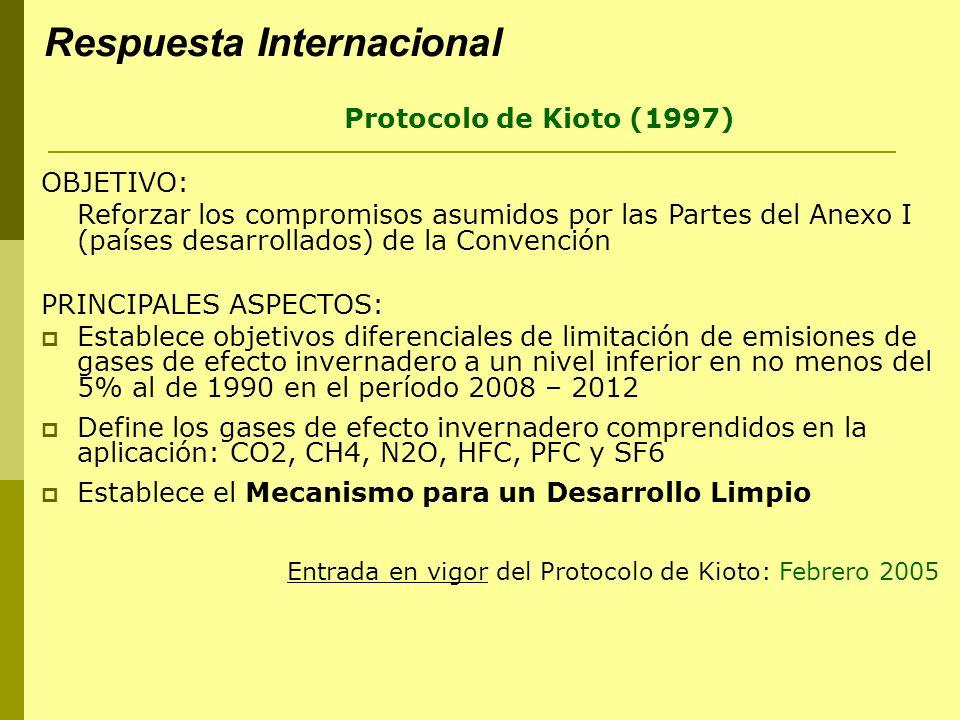 Protocolo de Kioto (1997) OBJETIVO: Reforzar los compromisos asumidos por las Partes del Anexo I (países desarrollados) de la Convención PRINCIPALES ASPECTOS: Establece objetivos diferenciales de limitación de emisiones de gases de efecto invernadero a un nivel inferior en no menos del 5% al de 1990 en el período 2008 – 2012 Define los gases de efecto invernadero comprendidos en la aplicación: CO2, CH4, N2O, HFC, PFC y SF6 Establece el Mecanismo para un Desarrollo Limpio Entrada en vigor del Protocolo de Kioto: Febrero 2005 Respuesta Internacional