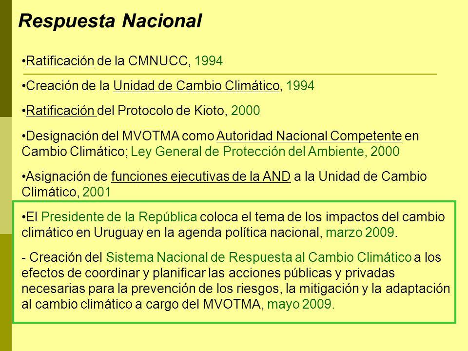 Ratificación de la CMNUCC, 1994 Creación de la Unidad de Cambio Climático, 1994 Ratificación del Protocolo de Kioto, 2000 Designación del MVOTMA como
