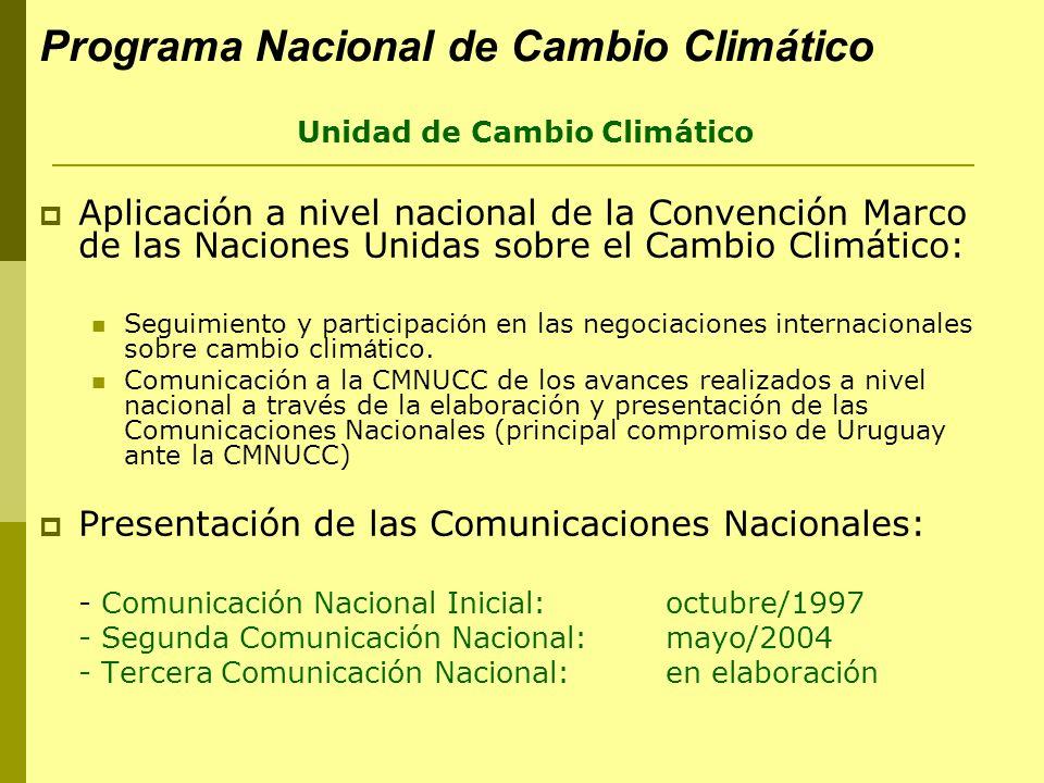 Comunicación Nacional Inicial Publicada en octubre /1997 Presentada en la COP-3 (Kioto, Japón) en Diciembre /1997 Elaborada en el marco del proyecto de Fortalecimiento Institucional para la Preparación de la Primera Comunicación Nacional a la Conferencia de las Partes de la CMNUCC Uruguay fue el tercer país en desarrollo en presentarla.