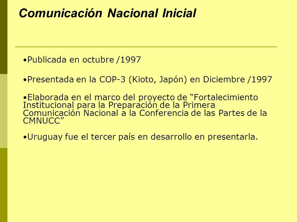 Comunicación Nacional Inicial Publicada en octubre /1997 Presentada en la COP-3 (Kioto, Japón) en Diciembre /1997 Elaborada en el marco del proyecto d