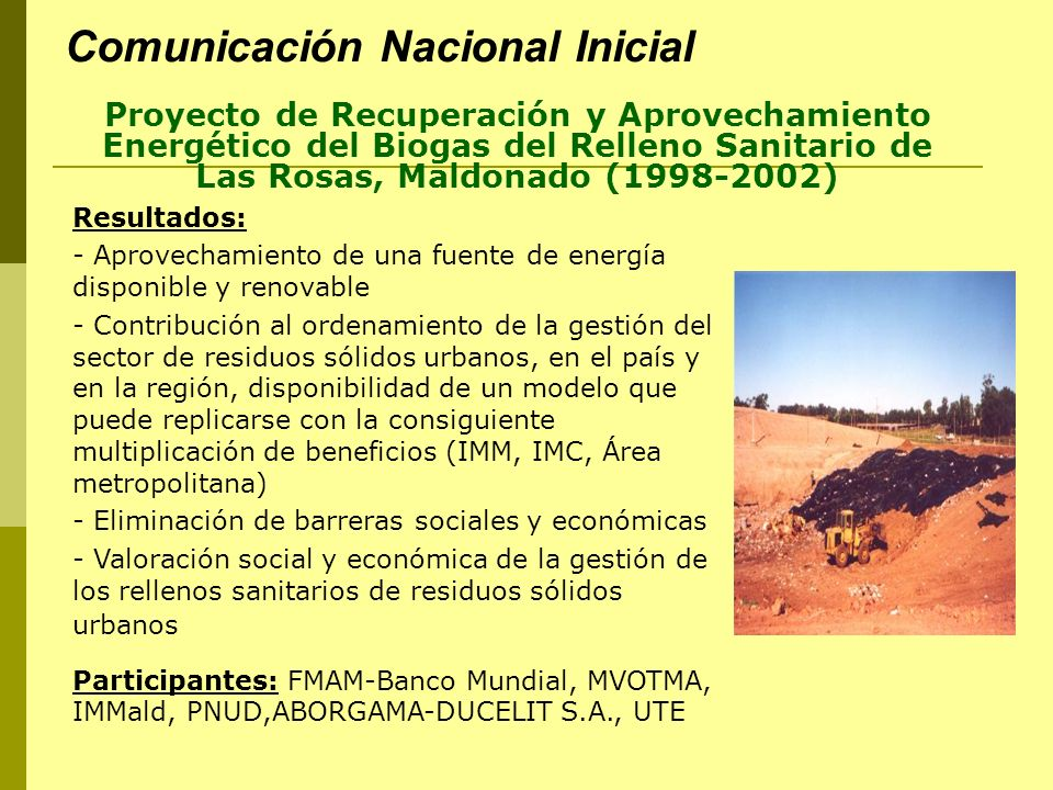Segunda Comunicación Nacional Presentada en mayo /2004.