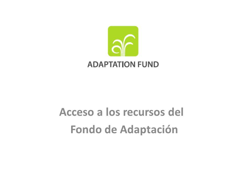 Propósito de la presentación Antecedentes Situación actual del Fondo de Adaptación (FA) – FA en pleno funcionamiento – Acceso directo: una realidad Nivel de financiamiento disponible – Al 16 de marzo de 2011: US$168,5M – A fines de 2012: estimación mediana US$334M (a la baja: 286M; al alza: 389M)